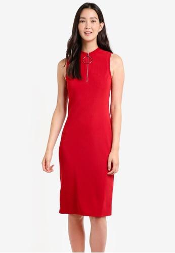 ZALORA red Bodycon Zip Detail Rib Dress BC1F3AA42D993DGS_1