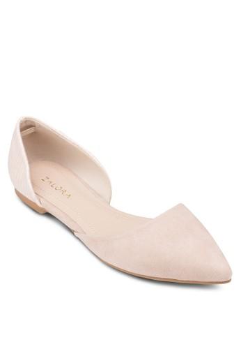 側鏤空尖頭娃娃鞋, 女鞋, 芭zalora 心得蕾平底鞋