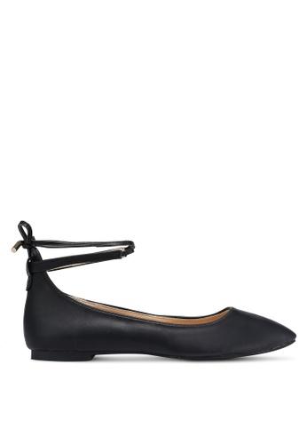 Velvet black Ankle Bow Tie Flats 951DBSH9BF744FGS_1