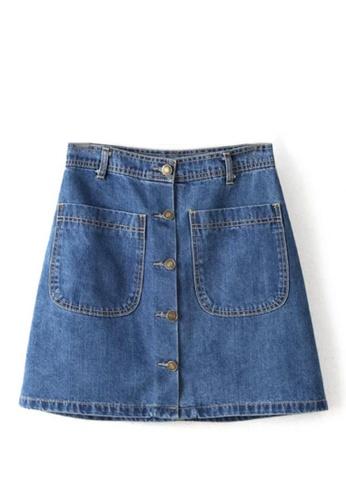 Sunnydaysweety blue Simple Denim Skirt C032503 SU219AA0GNSOSG_1