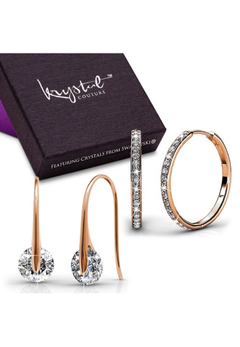 Krystal Couture gold KRYSTAL COUTURE Boxed 2 Pairs Earrings Set Embellished with Swarovski® crystals-Rose Gold/Clear 2A118AC95631E2GS_1