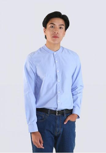 DENIZEN blue DENIZEN Men's Long Sleeve Mandarin collar Shirt 6B23CAA10DEA4AGS_1