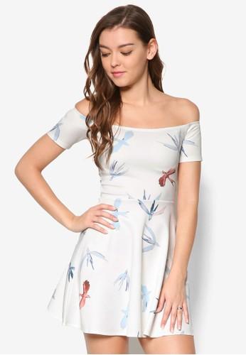 Cesprit 內衣alla 鴿子印花露肩連身裙, 服飾, 洋裝
