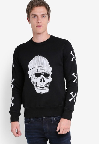 Wrung black Skully Crew Sweater WR395AA31PDGMY_1