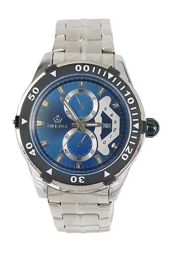 Chronomart blue and silver Decorative Chronograph Men's Stainless Steel Bracelet Wrist Watch CH783AC13VOGPH_1