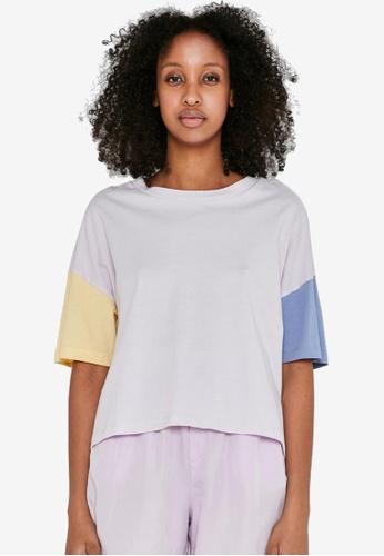 Noisy May 紫色 Amy 短袖撞色T恤 55FCEAAA71DCF8GS_1