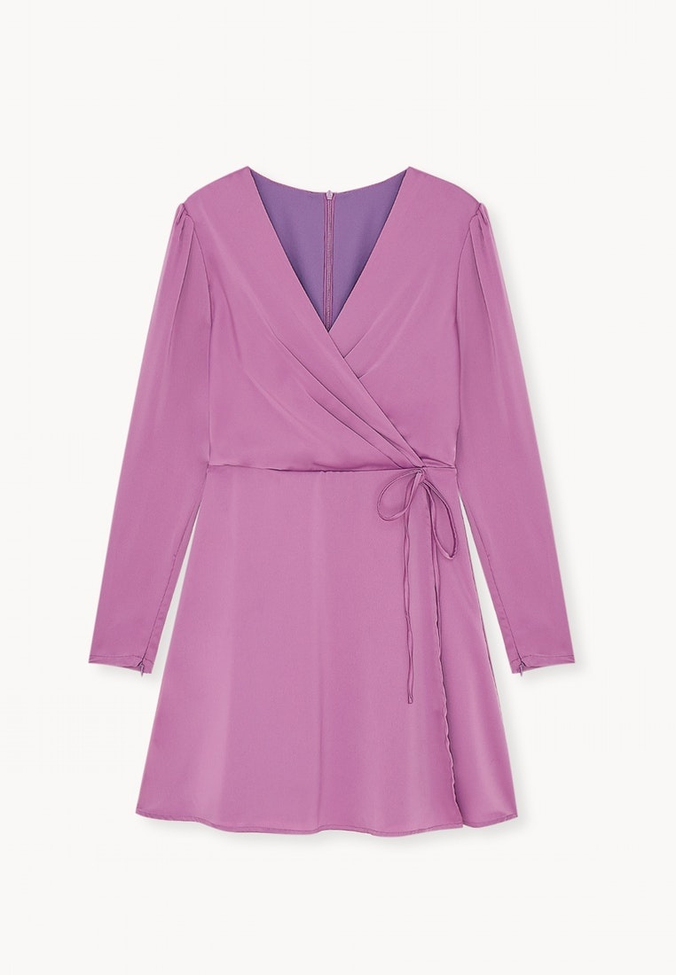 Purple Wrap Purple Surplice Pomelo Dress MIni a7gSqx