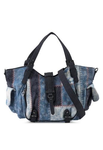 Desigual blue Denim Patched Crossbody Bag 1133EAC762A92DGS_1
