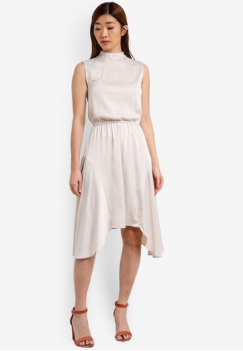 ZALORA white Satin Flared Dress EADBEZZEDAC54CGS_1