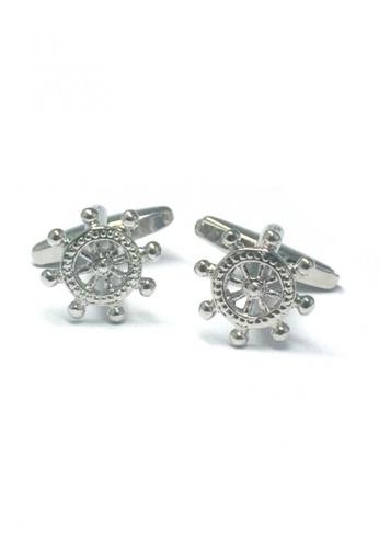 Splice Cufflinks silver Mini Silver Ship Wheels Cufflinks  SP744AC39DUESG_1