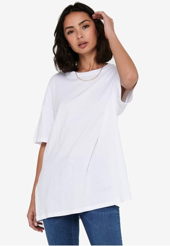 ONLY white Aya Life Oversized T-Shirt 3BCC9AA7546241GS_1