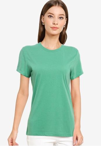 Tolliver green Round Neck Basic Short Sleeve Tee 933BBAA64CFA8FGS_1