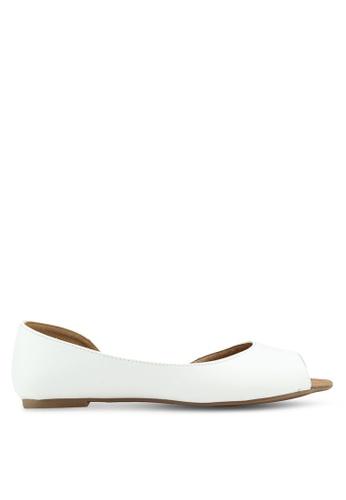 Rubi white Penelope Dorsay Peep Flats 47388SH5531A5DGS_1