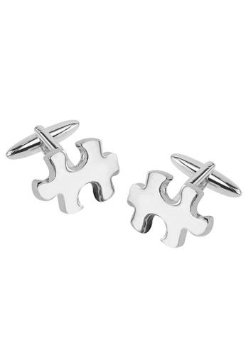 CUFF IT silver Jigsaw Cufflinks CU047AC10UVHHK_1
