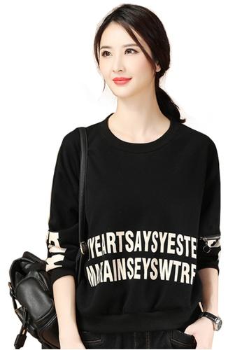 A-IN GIRLS black Simple Print Plus Velvet Sweatshirt 2B2A8AAAF1B72AGS_1
