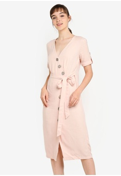 ee978a3035 River Island pink Button Front Midi Dress B55DEAA5EE2017GS_1