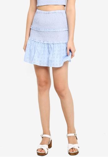 Supre blue Violet Shirred Frill Hem Skirt 9F0C9AA52A0D5BGS_1