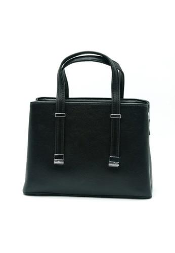 Lara black Women's Plain PU Leather Zipper Handbag Cross-body Bag - Black 32199ACB57DC48GS_1