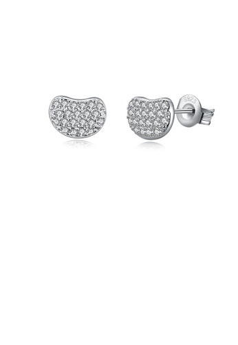 Glamorousky white 925 Sterling Silver Simple Fashion Elegant Beans Ear Studs and Earrings with Cubic Zircon D9B26ACA519BD1GS_1