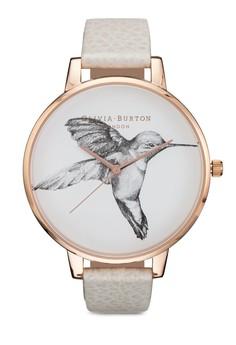 Olivia Burton Animal Motif Hummingbird Mink Rose Gold Watch image