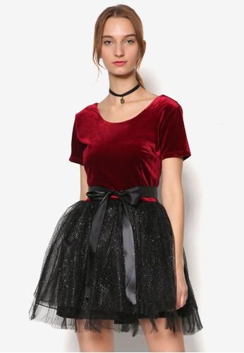 Danielle 絨布派對短袖連身esprit台灣網頁裙, 服飾, 派對洋裝