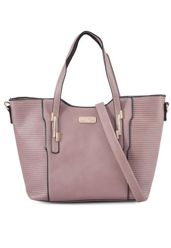 Unisa purple Debossed Convertible Top Handle Bag F1598ACE3C2108GS_1