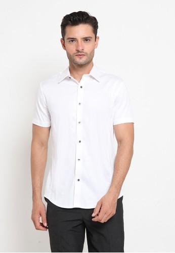 The Executive white Slim Fit Short Sleeve Shirt C58C3AA85CD7DAGS_1