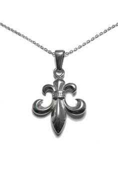 Stainless Steel Fleur de Lis Necklace (silver)