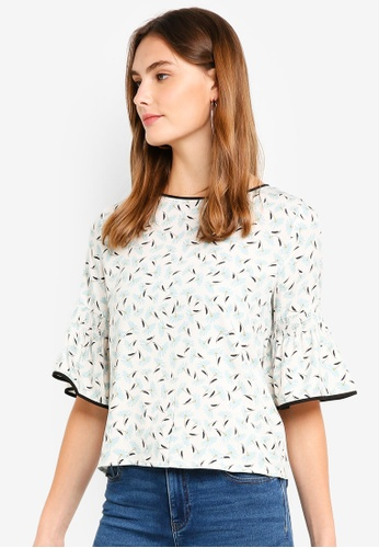 ESPRIT white 3/4 Woven Sleeve Blouse 4536AAA4F96A22GS_1