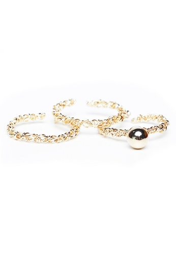 Gung Jewellery gold Yulia Trio Metal Pearl Stacked Rings in Gold 33E55AC68A9A58GS_1