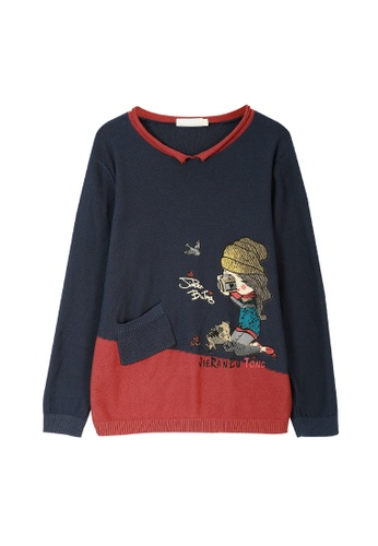 Its Me red and navy Cute Cartoon Printed Sweater AE4D5AA39FABD4GS_1