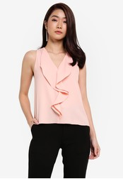 ZALORA pink Front Frill Top C5D1DAAE938006GS_1
