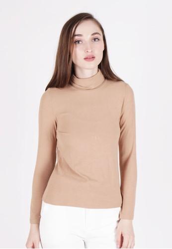 MAGNOLIA brown Long Sleeve Turtleneck Top D1B30AA78B2932GS_1