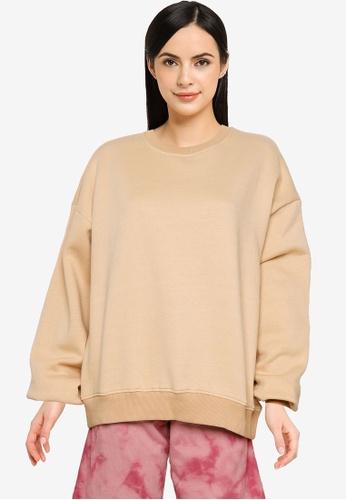 Public Desire brown Oversized Sweatshirt 85E39AAE651B2CGS_1