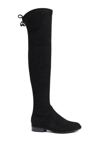 Twenty Eight Shoes black Supper Skinny Suede Fabric Over Knee Long Boots 718-12 9CBA3SH37DE496GS_1