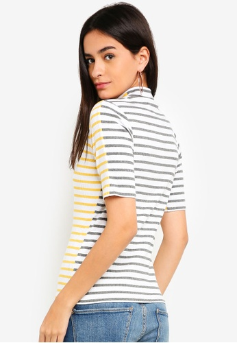 ESPRIT grey Stripe Ribbed T-Shirt 63FBEAAAA282FDGS_1