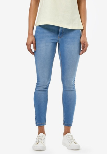 Dorothy Perkins blue Petite Mid Wash Frankie Jeans 76A85AA102558EGS_1