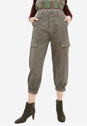Urban Revivo 綠色 Cargo 褲 7E57FAA166E19AGS_1