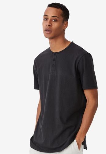 Cotton On black Longline Scoop Henley T-Shirt 457F7AA0A6B079GS_1