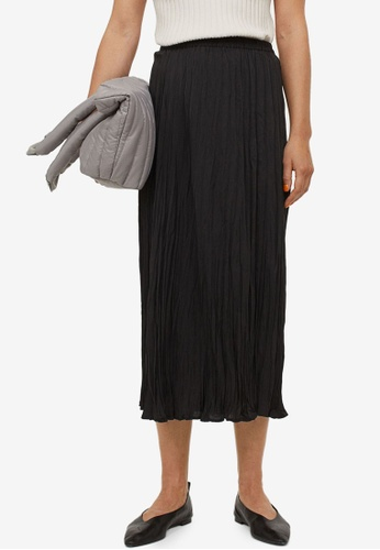 H&M black Crinkled Skirt 4BCAAAA0DEAB79GS_1