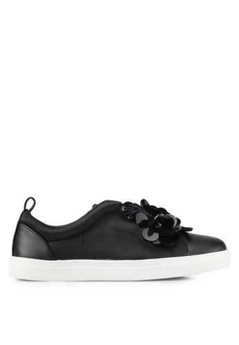 MISSGUIDED black Satin Flower Slip On Trainers MI511SH0SP8KMY_1