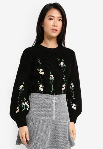 TOPSHOP black Embroidered Flower Ribbed Jumper TO412AA0SZ6BMY_1