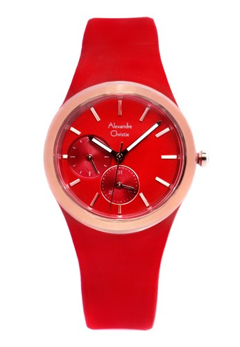 Alexandre Christie red Alexandre Christie Jam Tangan Wanita - Red Rosegold - Silicon - 2663 BFRRGRE B5A36ACCC7FC09GS_1