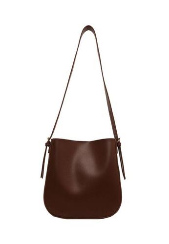 Lara brown Women's Magnetic Buckle Soft Leather Shoulder Bag - Brown 5637EAC75180F1GS_1