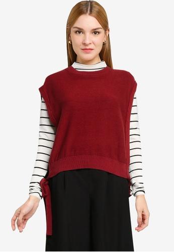 LOWRYS FARM brown Knit Side Ties Sweater F35CDAA9ED9308GS_1