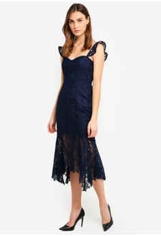 5482d7d3ee Forever New navy Rosa Lace Hanky Hem Dress C6A08AA76F1B21GS_1