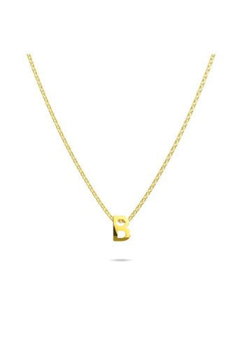Bullion Gold gold BULLION GOLD Initials Brick Alphabet Letter Necklace Gold Layered Steel Jewellery  - B 29022AC9165451GS_1