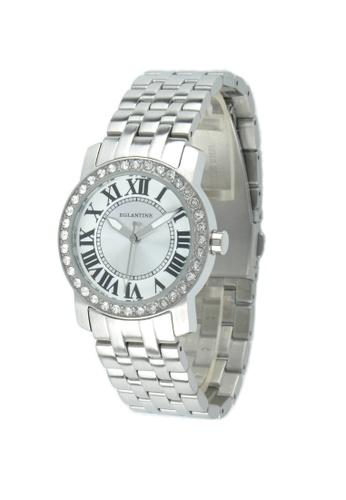 EGLANTINE silver EGLANTINE® Emily Ladies Steel Quartz Watch Paved with Crystals on Steel Bracelet 97375AC3BD19E2GS_1