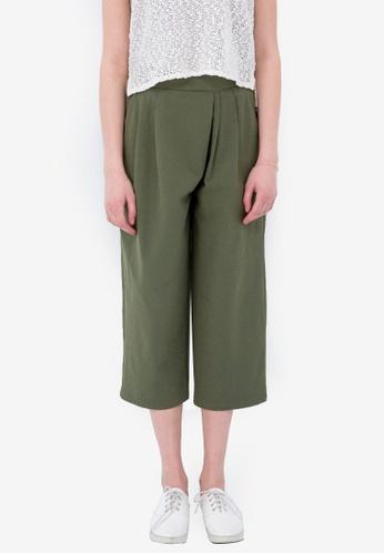 Kodz green Pleated Wide Legged Pants 96935AA5E07B14GS_1