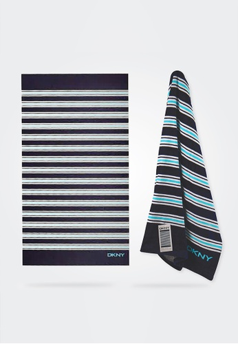 Dkny blue and multi and navy DKNY Cabana Indigo Beach Towel. 1B6DBHLA6AA475GS_1